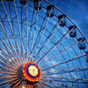 Boardwalk Ferris Wheel At Dusk Art Print
