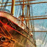 Boat - Ny - South Street Seaport - Peking Art Print by Mike Savad
