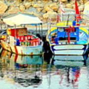 Happy And Colorful Boats In Their Own Company  Art Print by Hilde Widerberg