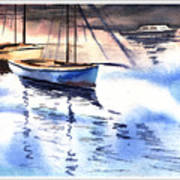 Boat And The River Art Print