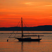 Boat At Champlain Sun-set Art Print