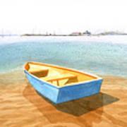 Boat At Low Tide Art Print