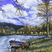 Boat By The Lake Art Print