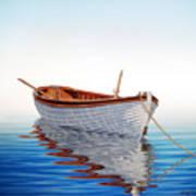 Boat In A Serene Sea Art Print