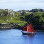 Boat In The Sea, Galway Hooker, County Art Print