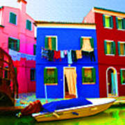 Boat Matching House Art Print