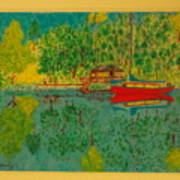 Boat On Lake Art Print