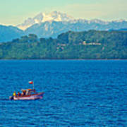 Boat On Llanquihue Lake From Puerto Varas-chile Art Print