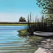 Boat On The Shadowed Beach Art Print