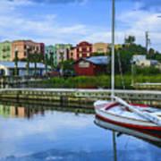 Boat Reflections Of Fernandina Beach Art Print