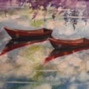 Boat Reflections Watercolor Painting Art Print