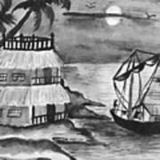 Boat Sailing In Moon Light Art Print