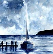 Boat Scene - Blue Sky Art Print