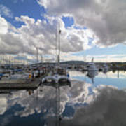 Boat Slips At Anacortes Cap Sante Marina In Washington State Art Print