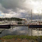 Boat Slips At Anacortes Marina In Washington State Art Print