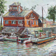 Boat Station On Krestovsky Island In St.-petersburg Art Print