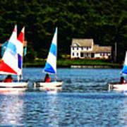 Boat - Striped Sails Art Print