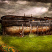 Boat - The Construction Of Noah's Ark Art Print by Mike Savad