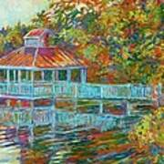 Boathouse At Mountain Lake Art Print