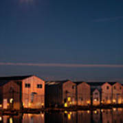 Boathouse Reflections With Moonset Art Print