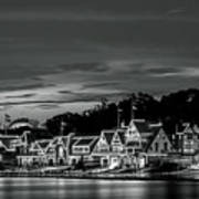 Boathouse Row Philadelphia Pa Night Black And White Art Print