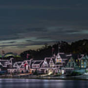 Boathouse Row Philly Pa Night Art Print