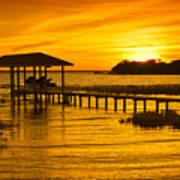 Boathouse Sunset Art Print