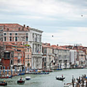 Boats And Gondolas In Grand Canal Art Print