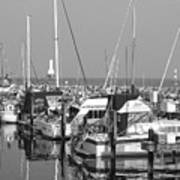 Boats And Reflections B-w Art Print