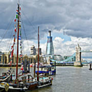 Boats And Shard And Tower Bridge Art Print