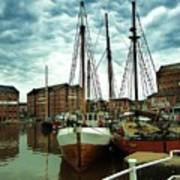 Boats At Gloucester Docks Art Print