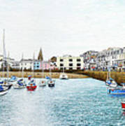 Boats At Ilfracombe Harbour Art Print