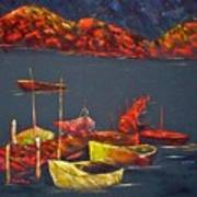 Boats At Nightfall Art Print