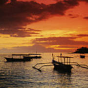 Boats At Senggigi Art Print