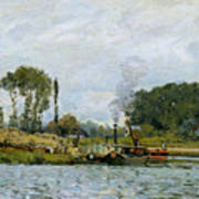 Boats At The Lock At Bougival Art Print