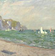 Boats Below The Cliffs At Pourville Art Print by Claude Monet