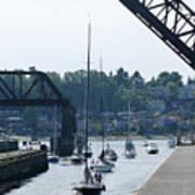 Boats In Ballard Locks Art Print