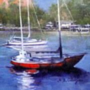 boats in Brisbane river Art Print