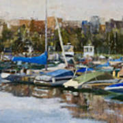 Boats In Montrose Harbor Art Print
