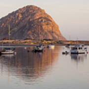 Boats In Morro Rock Reflection Art Print