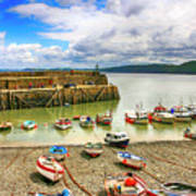 Boats In The Harbor At Clovelly In Devon Art Print