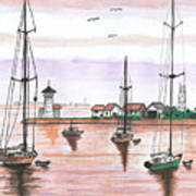 Boats In The Harbor Art Print