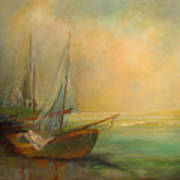 Boats In The Mist Art Print