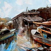 Boats In The Slough Art Print