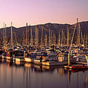 Boats Moored At A Harbor, Stearns Pier Art Print