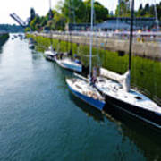 Boats Moving Into Chittenden Locks Seattle Art Print
