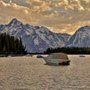 Boats On Jackson Lake At Sunset Art Print