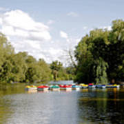 Boats On Markeaton Lake Art Print