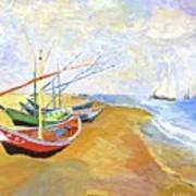 Boats On The Beach At Saintes-maries After Van Gogh Art Print