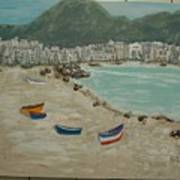 Boats On The Beach In Spain Art Print